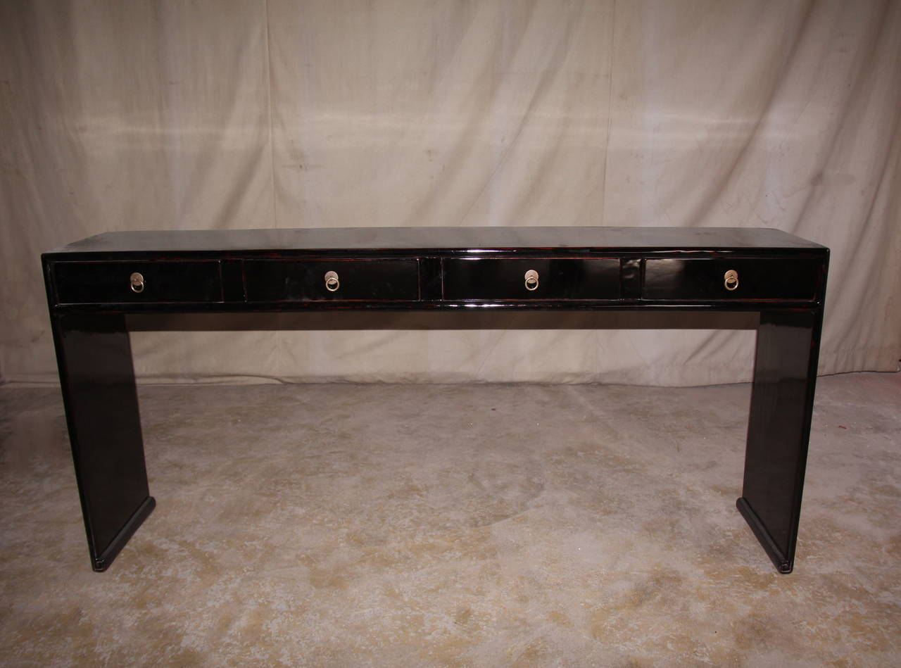Fine black lacquer console table with four drawers at 1stdibs fine black lacquer console table with four drawers 2 geotapseo Images