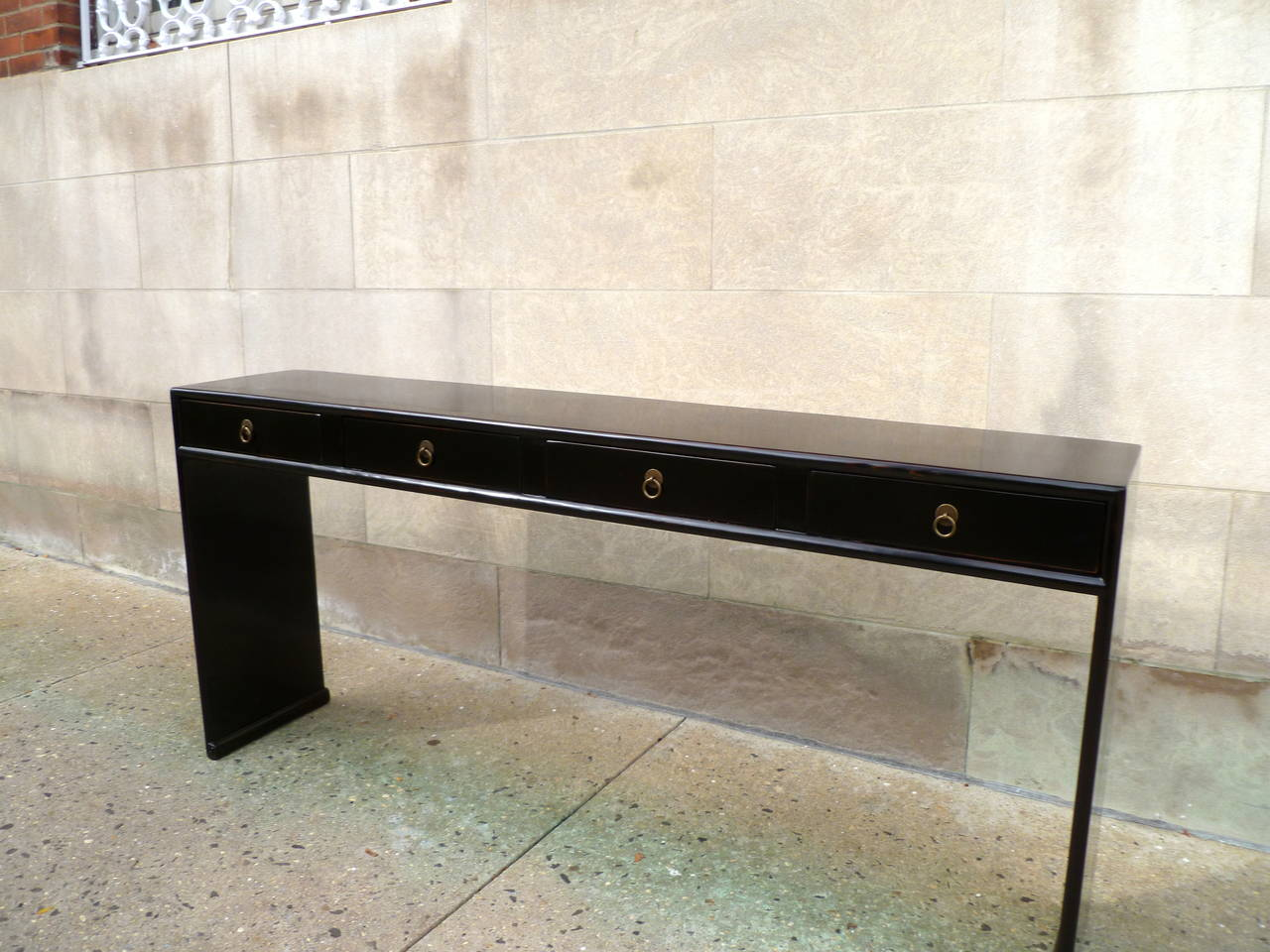Fine Black Lacquer Console Table With Four Drawers For