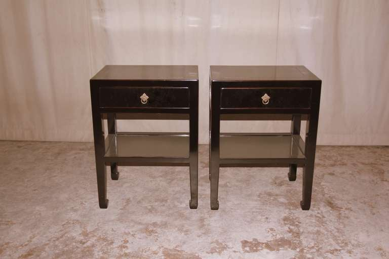 Pair Of Fine Black Lacquer End Tables With Shelf And
