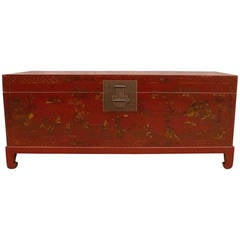 Fine Red Lacquer Trunk on Stand
