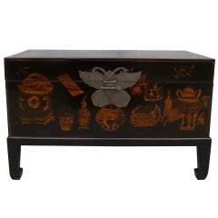 Fine Black Lacquer Trunk on Base with Golf Gilt Motif