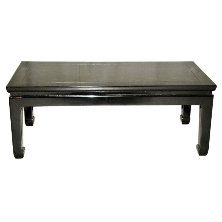 Fine Black Lacquer Low Table with Gold Gilt Landscape Motif