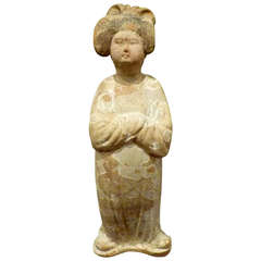 Fine Chinese Tang Dynasty Pottery Figure of a Standing Court Lady