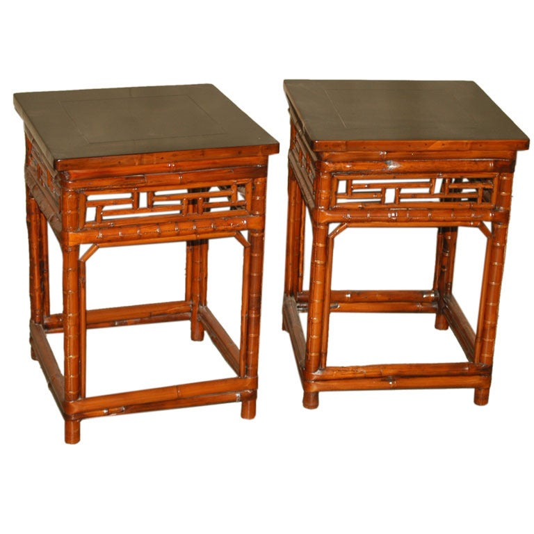 Pair of Square Bamboo End Tables with Black Lacquer Top For Sale