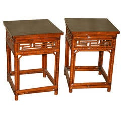 Amazing Pair Of Square Bamboo End Tables With Black Lacquer Top