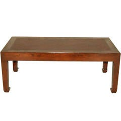 Elegant Rectangular Low Table with Cane Top