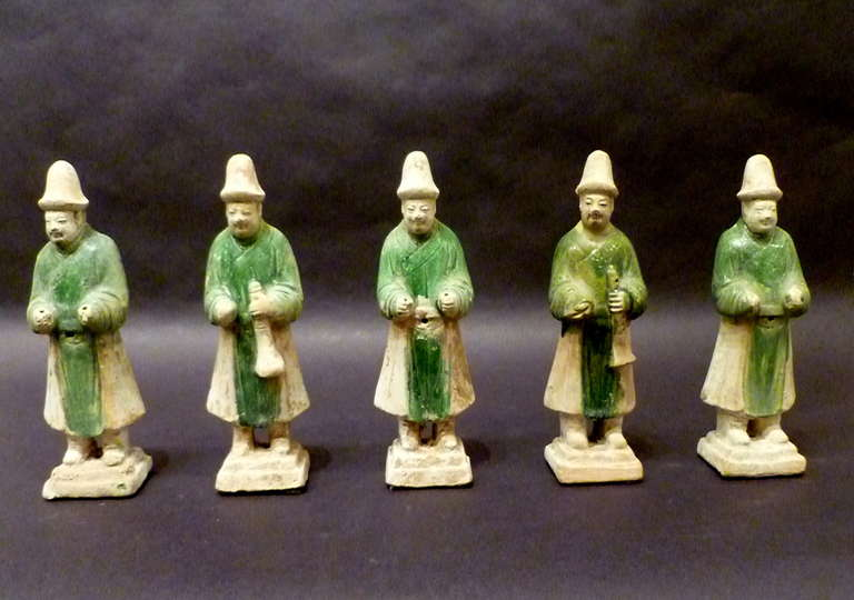 Chinese A Set of Six Ming Dynasty Green Glazed Pottery Statue of Attendants For Sale