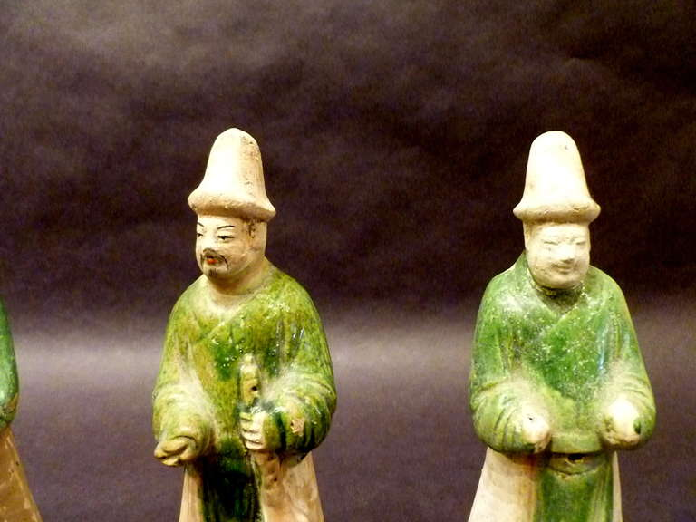 18th Century and Earlier A Set of Six Ming Dynasty Green Glazed Pottery Statue of Attendants For Sale