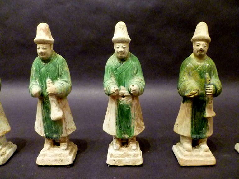 A Set of Six Ming Dynasty Green Glazed Pottery Statue of Attendants For Sale 1