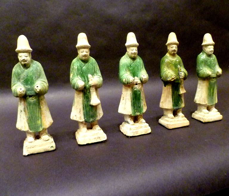 A Set of Six Ming Dynasty Green Glazed Pottery Statue of Attendants For Sale 2