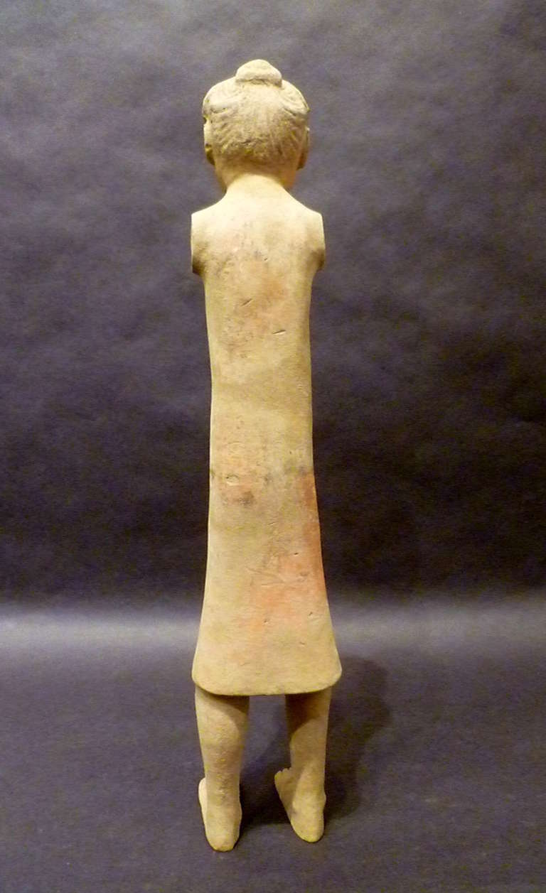 Fine Chinese Han Dynasty Pottery Figure of A Standing Woman For Sale 1