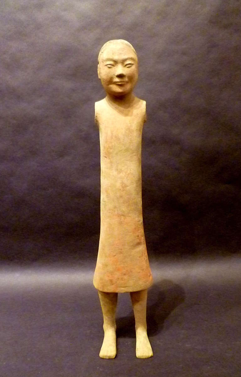 Hand-Crafted Fine Chinese Han Dynasty Pottery Figure of A Standing Man For Sale