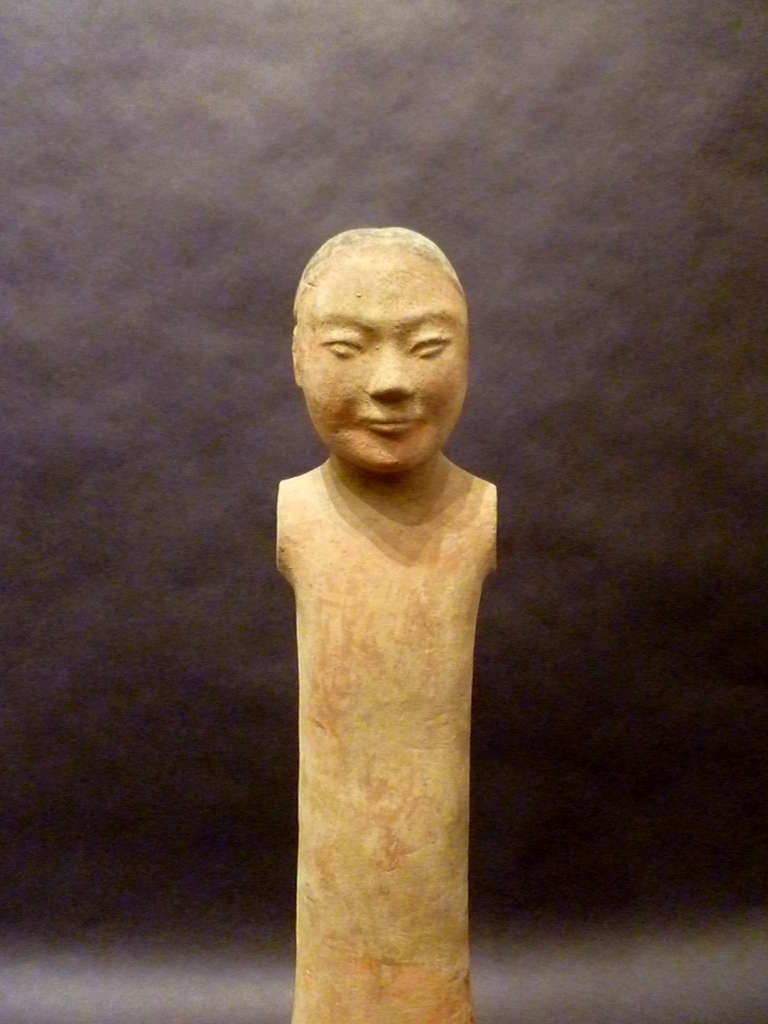 18th Century and Earlier Fine Chinese Han Dynasty Pottery Figure of A Standing Man For Sale