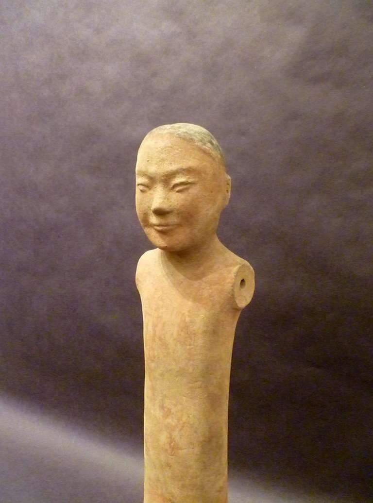 Fine Chinese Han Dynasty Pottery Figure of A Standing Man For Sale 1