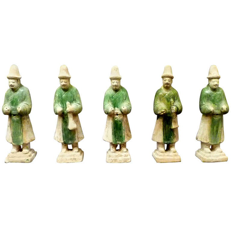 A Set of Six Ming Dynasty Green Glazed Pottery Statue of Attendants For Sale