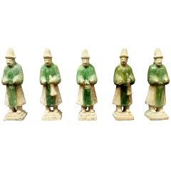 A Set of Six Ming Dynasty Green Glazed Pottery Statue of Attendants