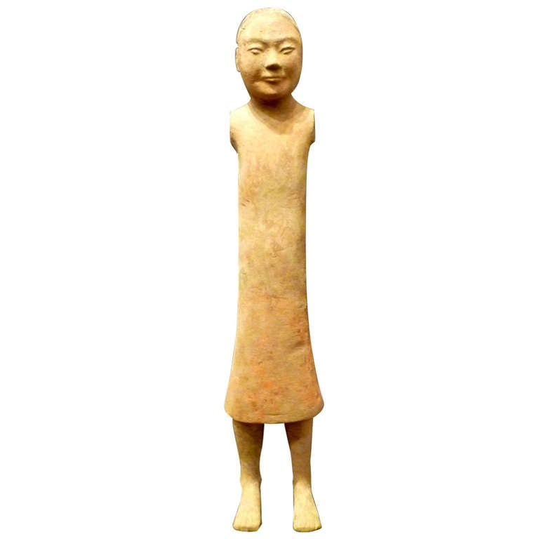 Fine Chinese Han Dynasty Pottery Figure of A Standing Man For Sale