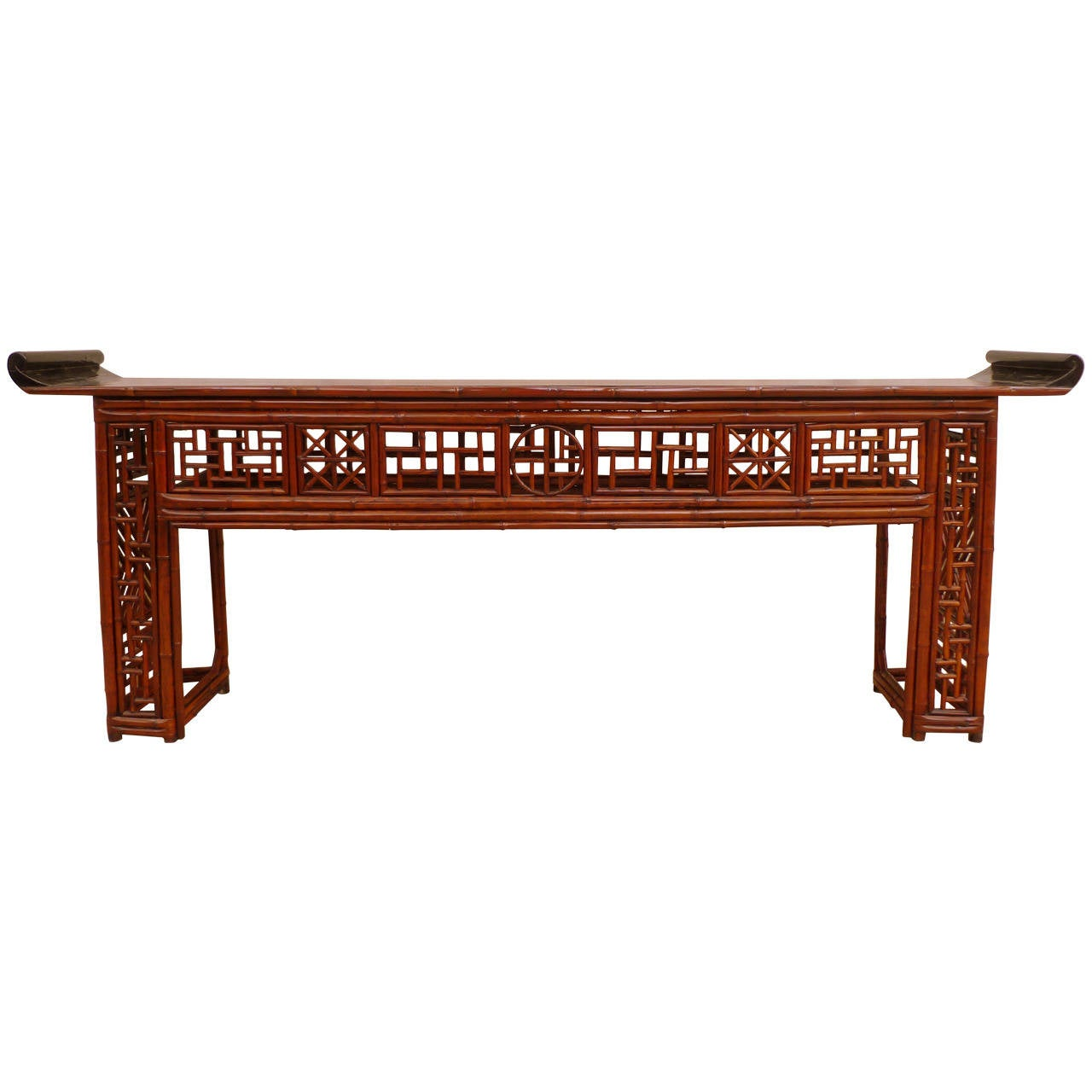 Console Table with Lacquer Top & Bamboo Fret Work