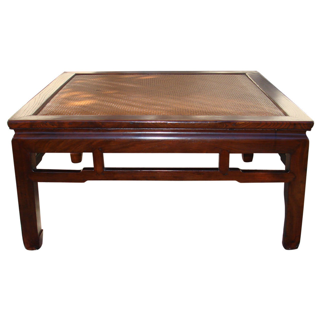 Square jumu wood low table with cane top for sale at 1stdibs for Low coffee table wood