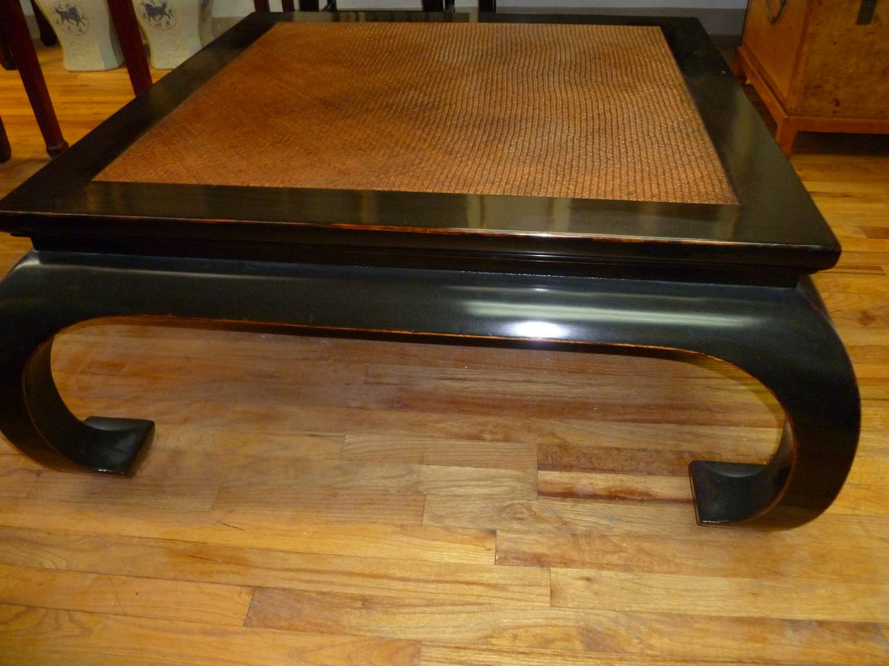 Fine Black Lacaquer Square Low Table With Cane Top For Sale At 1stdibs