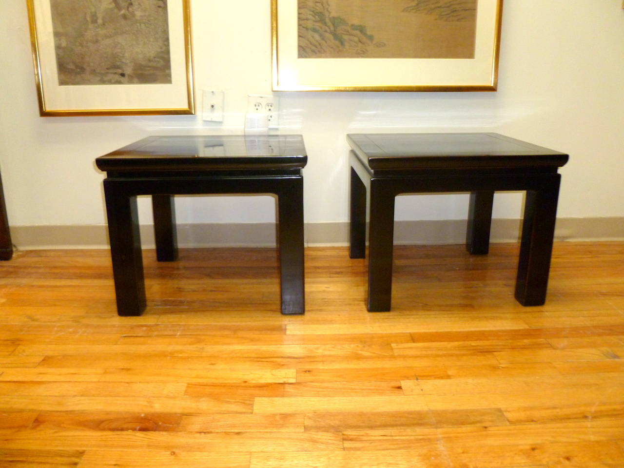 Pair Of Black Lacquered Square End Tables At 1stdibs