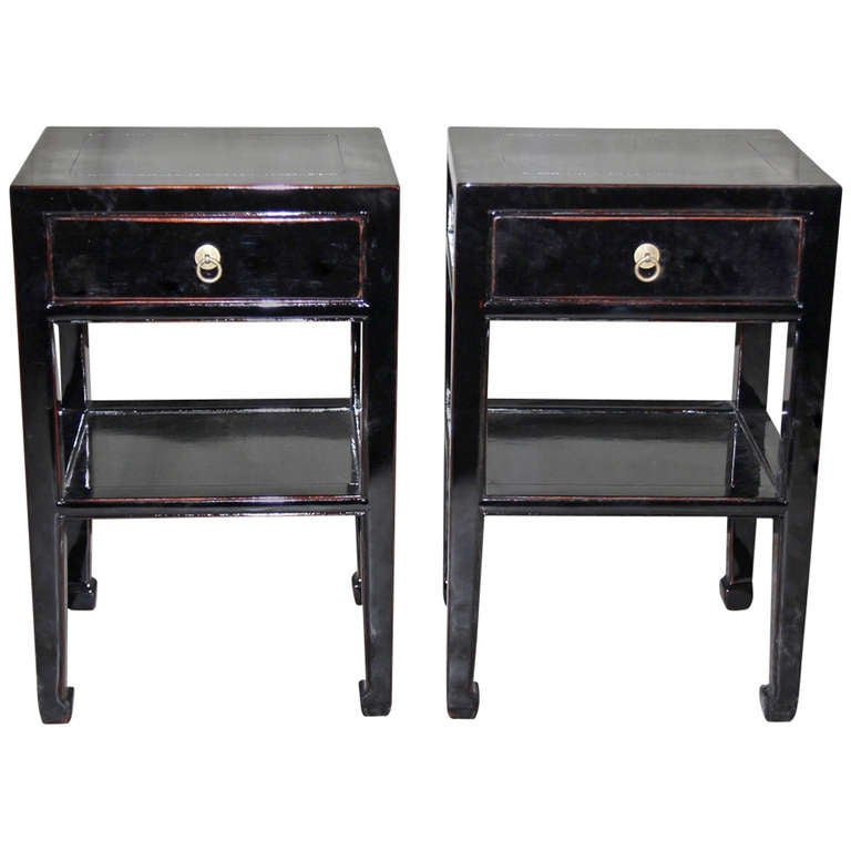 Pair of fine black lacquer end tables with shelf and for Black side table with drawer