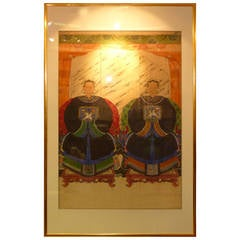 Fine Portrait Painting of Two Chinese Qing Dynasty Noblewomen