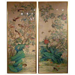 Pair of Fine Brush Painting, Anglo-Chinese School of Birds and Flowers