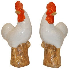 A Pair of Fine Porcelain Rooster Statues