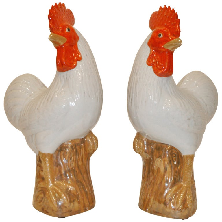 A Pair of Fine Porcelain Rooster Statues For Sale