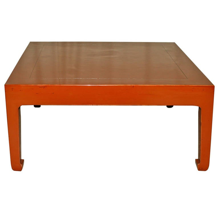 Fine square red lacquer low table for sale at 1stdibs Low coffee table square