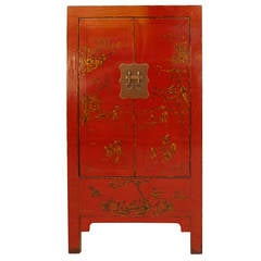 Red Lacquer Armoire with Gold Gilt Landscape Motif