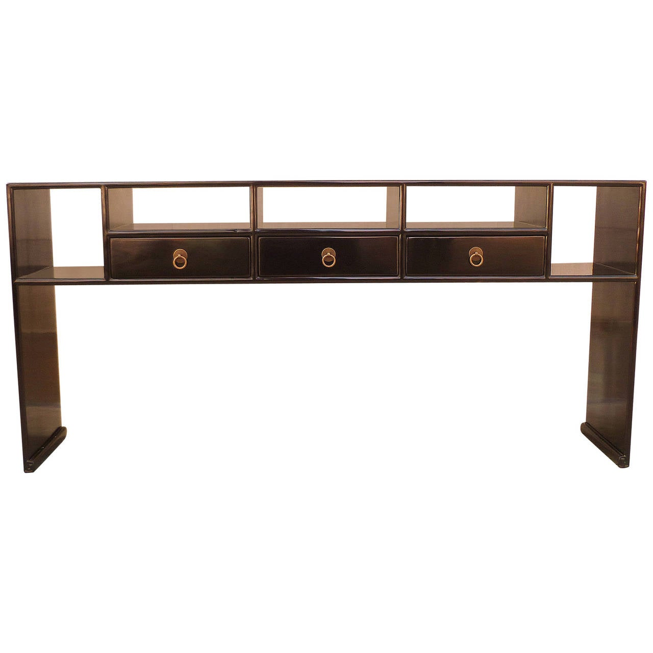 Black Lacquer Console Table With Shelves And Drawers At 1stdibs. Full resolution  img, nominally Width 1280 Height 1280 pixels, img with #8E613D.