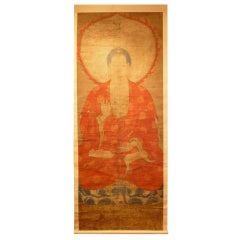 Very Large Buddhist Scroll Painting of Amitofo, 14th - 15th Century