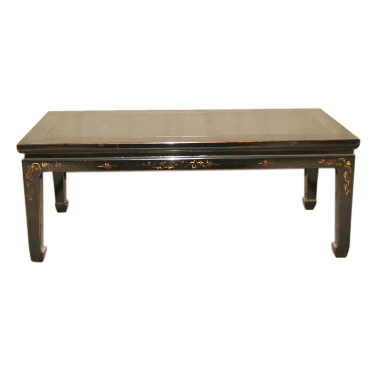 Black Lacquer Low Table With Gold Gilt Landscape Motif At 1stdibs