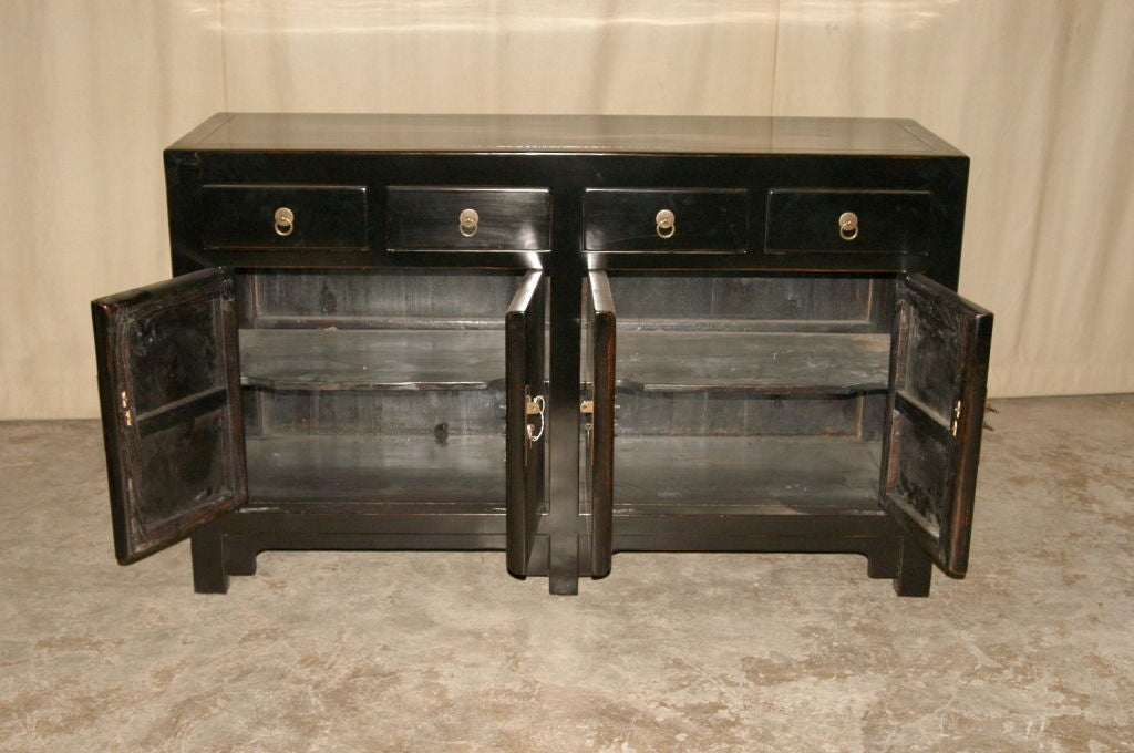 Black Lacquer Sideboard with Four Drawers and Two Pairs of Doors 2