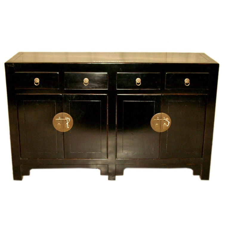 Black Lacquer Sideboard with Four Drawers and Two Pairs of Doors 1