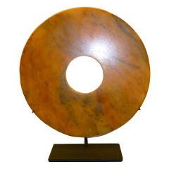 "Jade Disc ""Bi"" On Metal Stand"