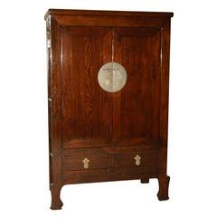 Fine Ju Mu Wood Armoire with Framed Burl Wood Doors