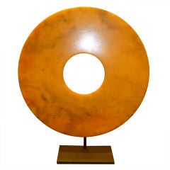 Jade Disc On Metal Stand