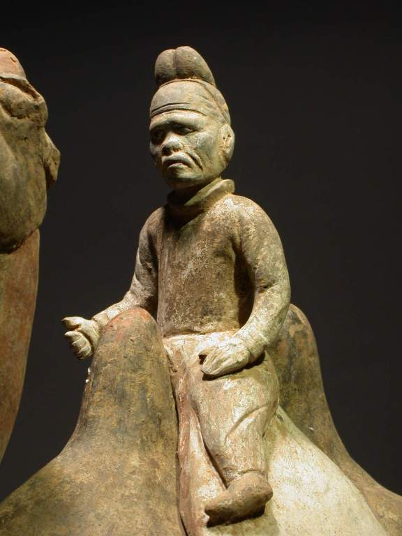 Chinese Refined Pottery Statue of Standing Camel with a Mongolian Rider, TL Tested For Sale