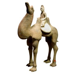 Refined Pottery Statue of Standing Camel with a Mongolian Rider
