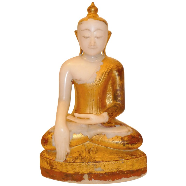 A Very Fine Burmese White Marble Buddha With Gold Leafing