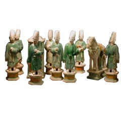 Set of Very Refined Ming Dynasty Green Glazed Wedding Procession