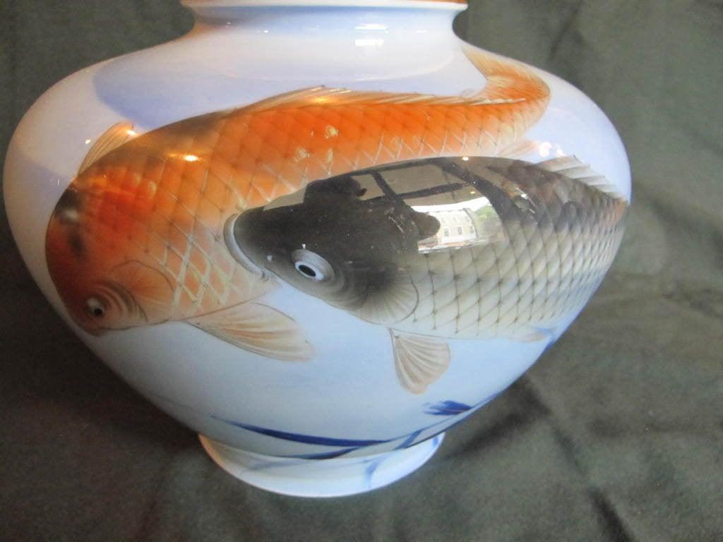 Japanese fukugawa vase with koi fish at 1stdibs for Koi fish vase