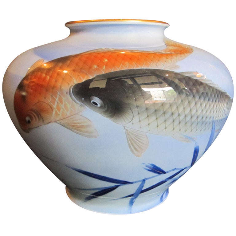 Japanese fukugawa vase with koi fish at 1stdibs for Koi fish value