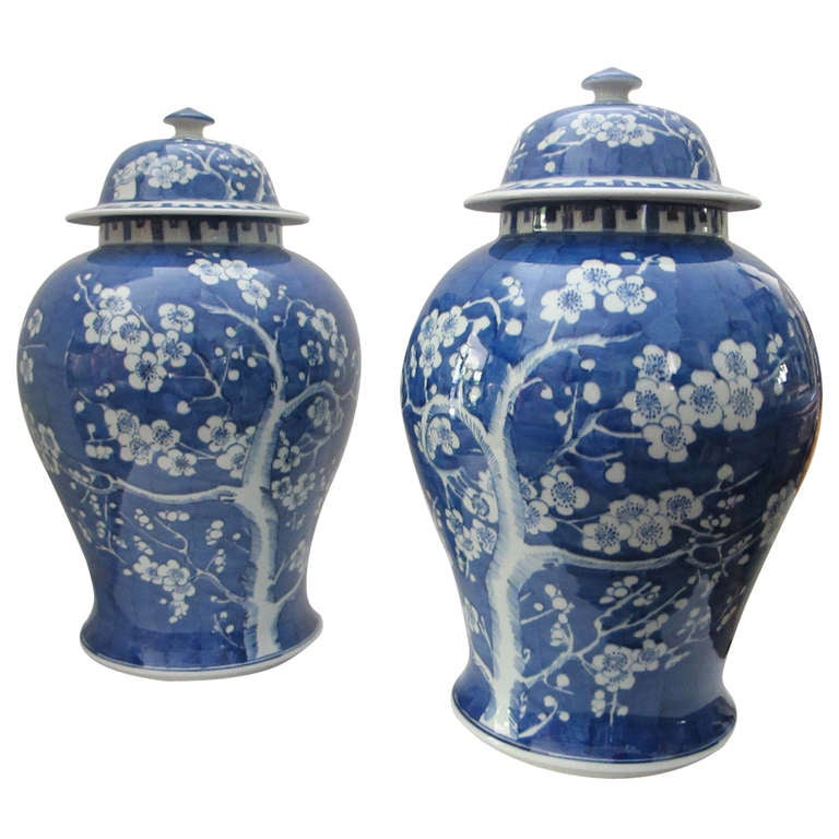 Pair Of Blue And White Lidded Ginger Jars At 1stdibs