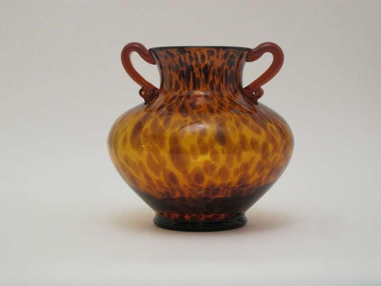 Tortoise Shell Design Glass Vase At 1stdibs