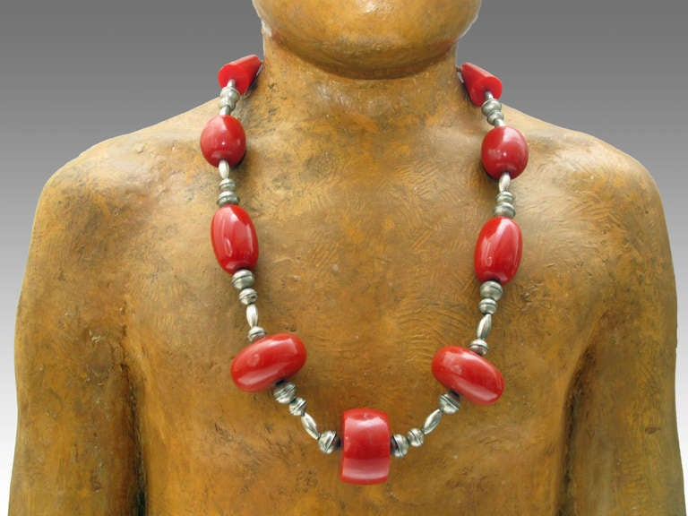 Low grade silver and red bakelite necklace