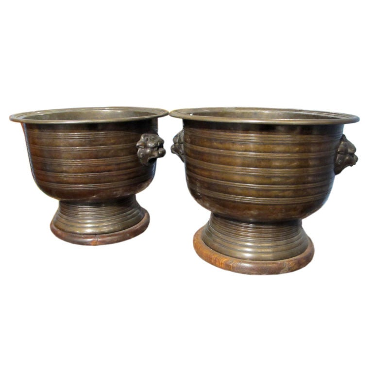 Pair Of Japanese Bronze Hibachis